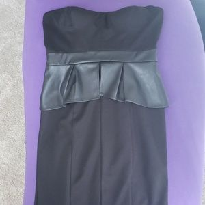 Jessica Simpson Faux Leather Peplum Sheath dress